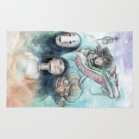 chihiro Area & Throw Rugs featuring Spirited Away Watercolor Painting by Barrett Biggers