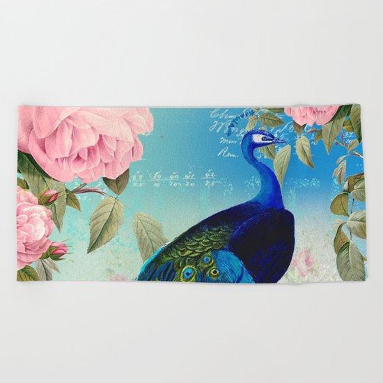 Peacock & Pink Roses  Beach Towel