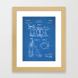Drum Set Patent - Drummer Art - Blueprint Framed Art Print