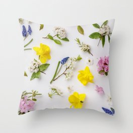 Floral pattern with spring flowers and leaves Throw Pillow