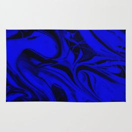 Black and Blue Swirl - Abstract, blue and black mixed paint pattern texture Rug