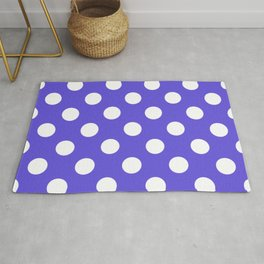 Majorelle blue - blue - White Polka Dots - Pois Pattern Rug
