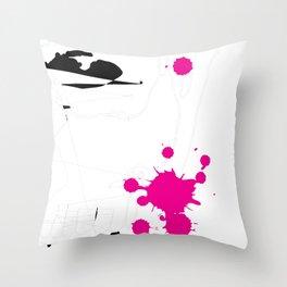 Magenta Abstract Rick Genest Throw Pillow