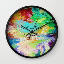 ADVENTURE AWAITS Wanderlust Typography Explore Summer Nature Rainbow Abstract Fine Art Painting Wall Clock