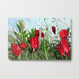 Landscape Close Up Poppies Against Morning Sky Metal Print