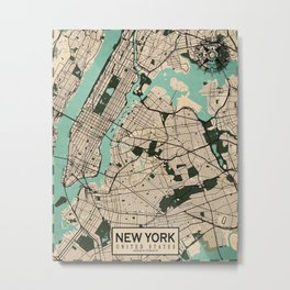 New York City Map of the United States - Vintage Metal Print