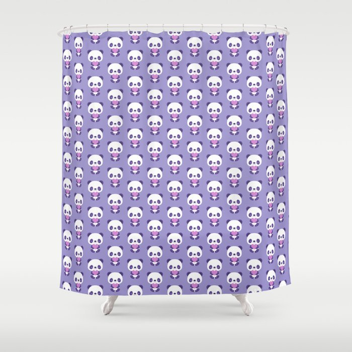 Cute purple baby pandas Shower Curtain