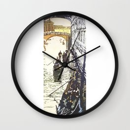 Bridge of Sighs in the medieval city of Venice, Italy.  Watercolor painting Bridge Sighs Venice Wall Clock