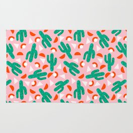 Red Hot - cactus southwest desert palm springs retro neon throwback 1980s style minimal plants Rug