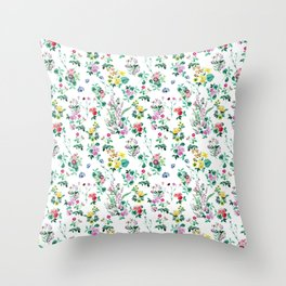 Roses, Moth Orchids, Lilies - Green Pink Blue Throw Pillow