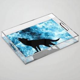 Howling Winter Wolf snowy blue smoke Acrylic Tray