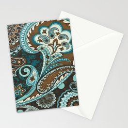 Turquoise Brown Vintage Paisley Stationery Cards