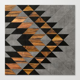 Urban Tribal Pattern 10 - Aztec - Concrete and Wood Canvas Print