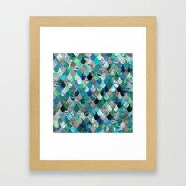 Mermaid Scales, Teal, Green, Aqua, Blue Framed Art Print