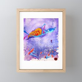 """Gods of the Sea"" Whale,Colossal Squid ,jellyfish and diver Ocean Animal Art Framed Mini Art Print"