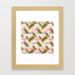 Tropical gold cheese leaves pastel color stripes Framed Art Print