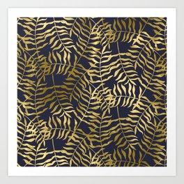 Gold Leaves on Navy Blue Art Print