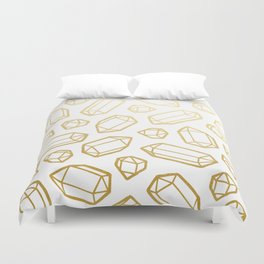 Gold and White Gemstone Pattern Duvet Cover