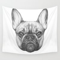 frenchie Wall Tapestries featuring Frenchie by Victoria Novak