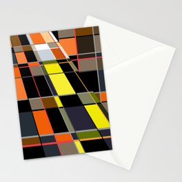 An abstract geometric pattern. Orange , brown ,yellow-cage . Stationery Cards