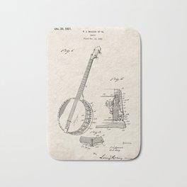 Banjo Vintage Patent Hand Drawing Bath Mat