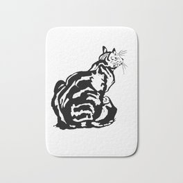 Black And White Seated Tabby Cat Bath Mat