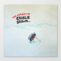 charlie brown Canvas Prints featuring Dreams of Charlie Brown by Özgür Öztürk