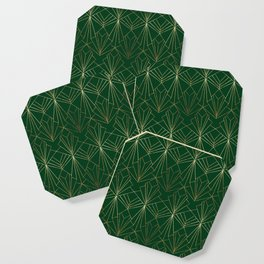 Art Deco in Gold & Green Coaster
