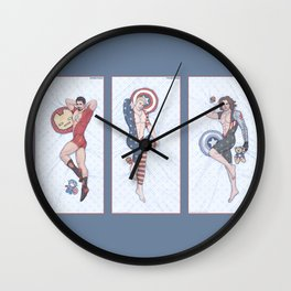 Superhero Pinup Trio (Stark Spangled Winter) Wall Clock