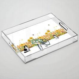Cats Summer Garden Bike Butterflies Acrylic Tray