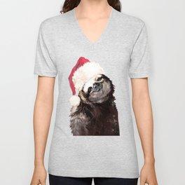 Christmas Sloth in Green Unisex V-Neck