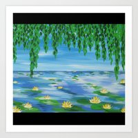 monet Art Prints featuring monet scene by Cathy Jacobs