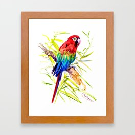 Parrot Scarlet Macaw, Tropical Birds, Jungle Red, Green Blue bright colored tropical artwork Framed Art Print