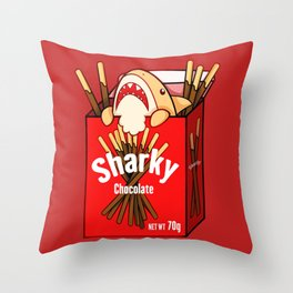 Chocolate Sharky Throw Pillow