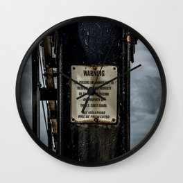 Warning Sign on Lighthouse Catwalk Michigan City Indiana Wall Clock