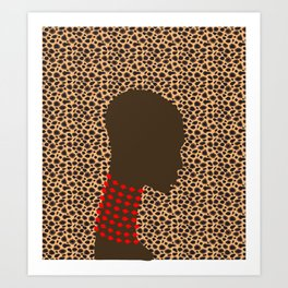 Bald head woman with pink beads zollione shop animal print Art Print