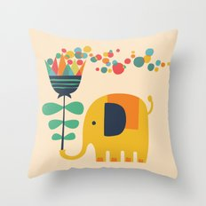Elephant with giant flower Throw Pillow
