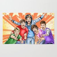 comic book Area & Throw Rugs featuring One Direction FAME comic book cover by Storm Media