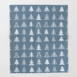 Merry Christmas - Simple Hand Knit Xmas Tree Pattern Throw Blanket