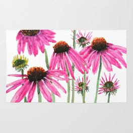 pink coneflowers watercolor Rug
