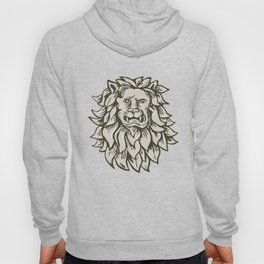 Angry Lion Big Cat Head Etching Hoody