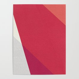 Shades Of Red And Gray Modern Abstract Pattern Poster