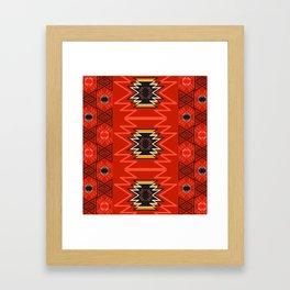 Ethnic lines in red Framed Art Print