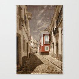 Sepia treatment of a cobbled street, Portugal Canvas Print