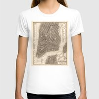 new york map T-shirts featuring New York Map by Le petit Archiviste