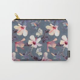 Butterflies and Hibiscus Flowers - a painted pattern Carry-All Pouch