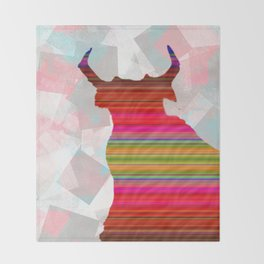Mexican Bull Decoupage Pattern Abstract Art Throw Blanket