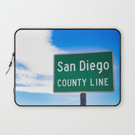 Closeup of the San Diego County Line Sign against a Blue Sky in the Anza Borrego Desert State Park Laptop Sleeve