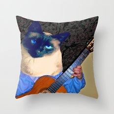 My Cat Plays Guitar Throw Pillow