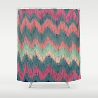 ikat Shower Curtains featuring IKAT CHEVRON by Nika